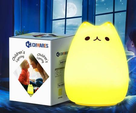 CHwares Portable LED Children Night Light Kids Multicolor Silicone Cat Lamp
