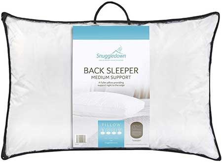 SnuggleDown Medium Support back sleeper pillow